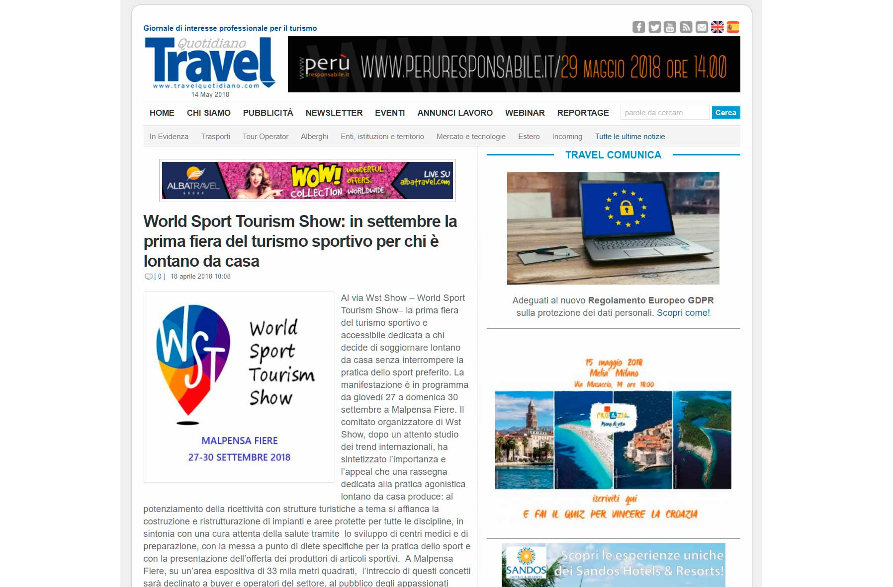 Quotidiano Travel articolo Wst Show
